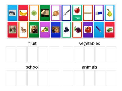 fruit, vegetables, school and animals