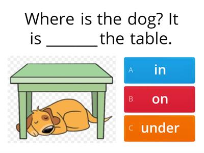 Prepositions (in-on-under) 1st Gr