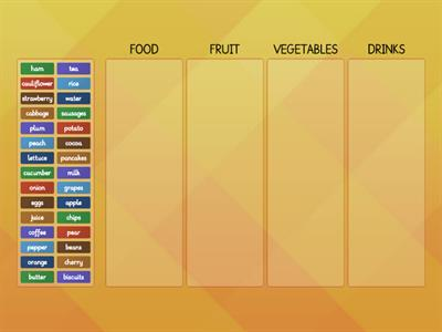Food categories worksheet (Dip in 4)
