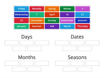Calendar Sort: Days, Dates, Months, Seasons