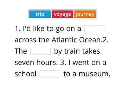 Travelling - holiday words