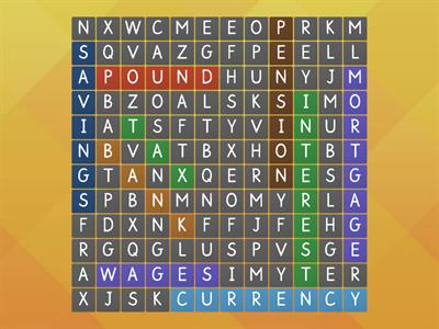 Money skills Wordsearch