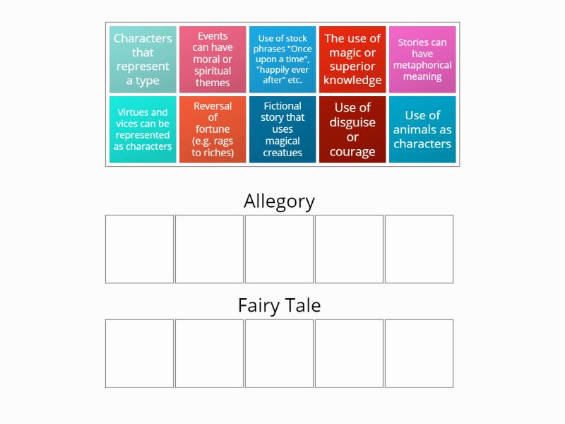 Allegory vs Fairy Tale - Group sort