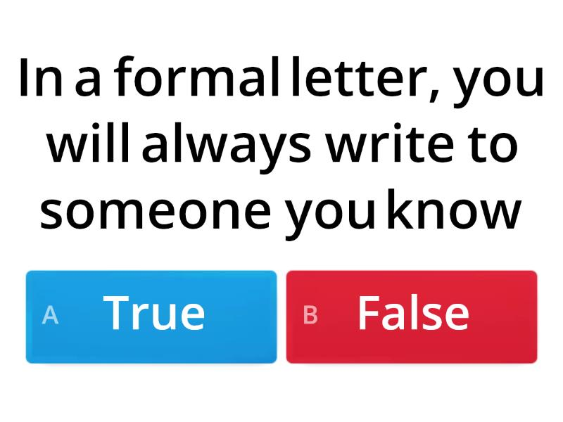 Formal Letter Writing 2 Quiz Teaching Resource