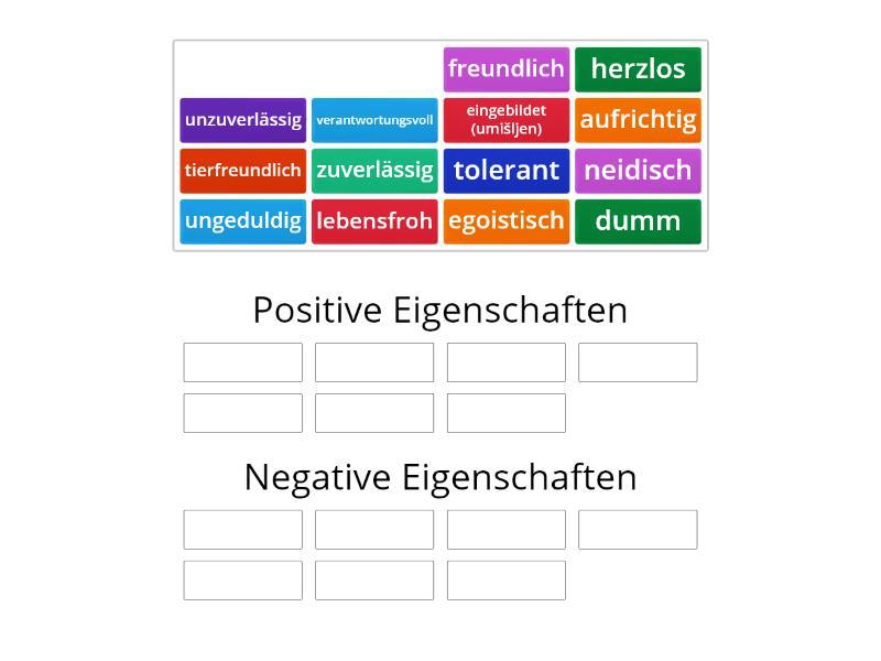 Positive und negative Eigenschaften - Vrsta grupe