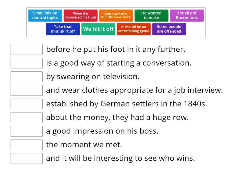 communication vocab - Match up