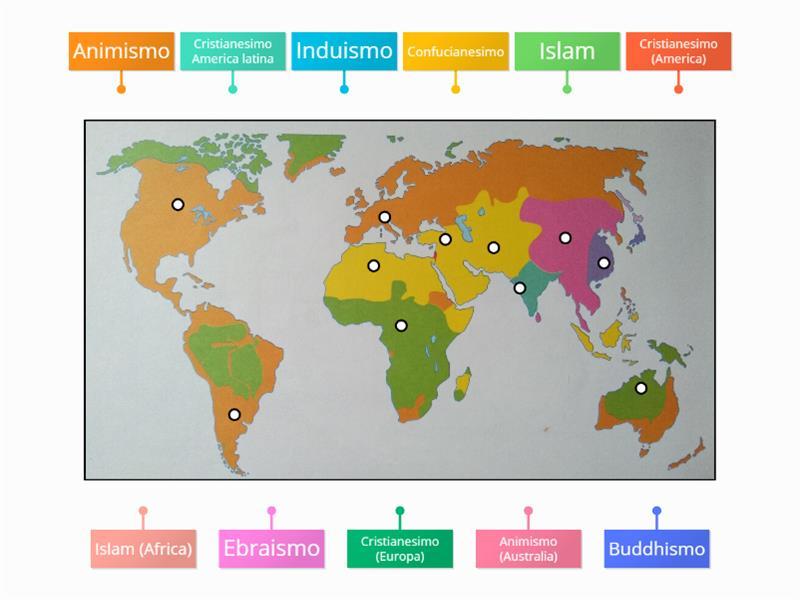 Cartina Del Mondo Con Le Diverse Religioni.Le Religioni Sul Planisfero Immagini Ed Etichette