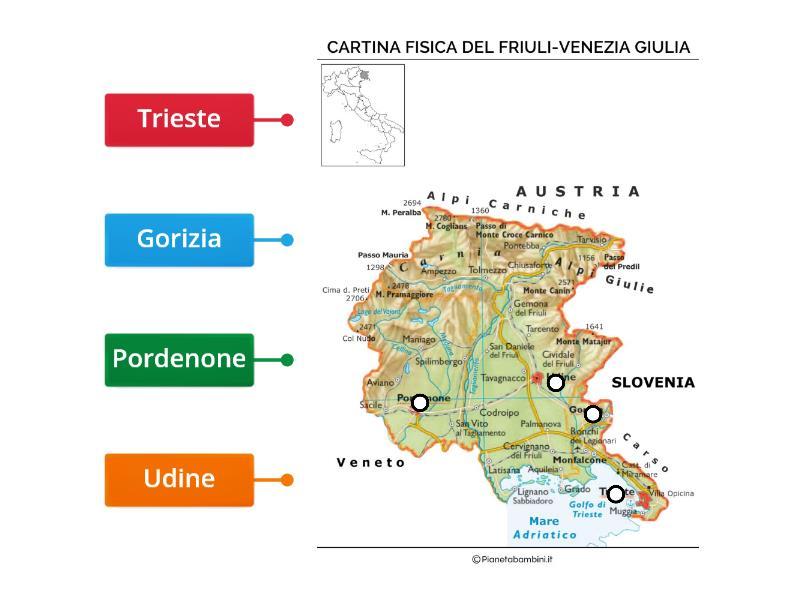 Cartina Fisica Del Friuli Venezia Giulia.Il Friuli Venezia Giulia Diagrama Etiquetado